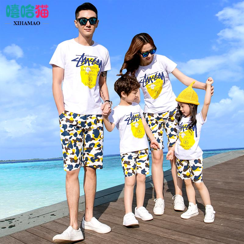 海边沙滩全家装亲子装时尚套装新款潮