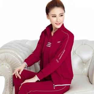 新款中老年女士春秋运动套装宽松大码运动服休闲三件套长袖妈妈装