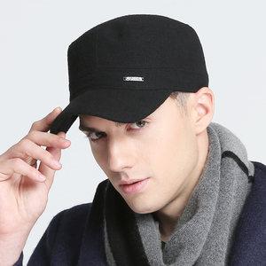 羊毛呢帽子青年男士加厚保暖秋冬季vec户外休闲军帽平顶帽鸭舌帽