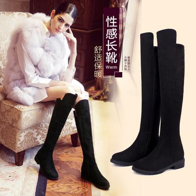 艾斯臣过膝靴长靴女靴子女冬季长筒弹力靴高筒平底秋冬加绒女鞋子