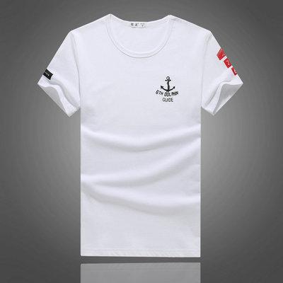夏季男士短袖T恤青少年学生修身纯棉圆领个性百搭潮流打底上衣装