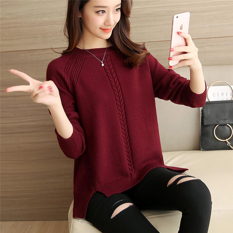 2017春款新品韩版宽松圆领短款打底针织套头长袖新潮毛衣外套女