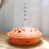 Creative ceramic incense burner tray mosquito coil with cover large plate incense stick household mosquito coil sandalwood incense stick incense