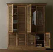 实木衣柜客厅家具复古做旧衣柜百叶门柜子储物柜美式乡村系列
