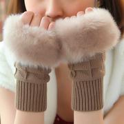 手套女冬天学生可爱女士露指韩版冬季加厚保暖骑车手臂套毛线半指