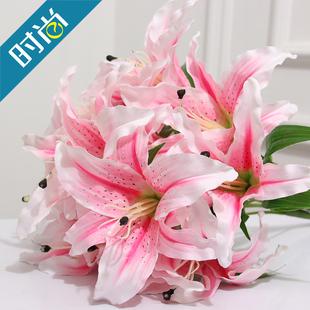 家居饰品装饰花高仿真花单只百合花套装绢花假花单束花批发包邮