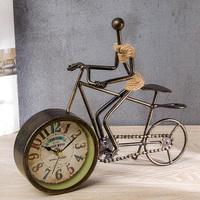 复古铁艺台面钟 欧式创意麻绳时钟摆件客厅坐钟桌面自行车仿古钟