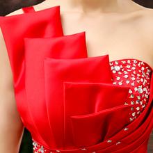 新娘敬酒服2018新款夏红色短款伴娘服结婚小礼服修身长款晚礼服女