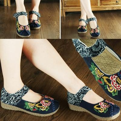 老北京布鞋春夏季新款女鞋绣花鞋民族风广场舞蹈汉服妈妈平底单鞋