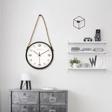 北欧风创意挂钟个性简约表时钟现代挂钟静音客厅吊绳麻绳金属钟表