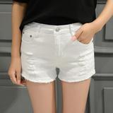 夏季学生白色弹力破洞牛仔短裤女毛边大码韩版潮宽松显瘦阔腿热裤