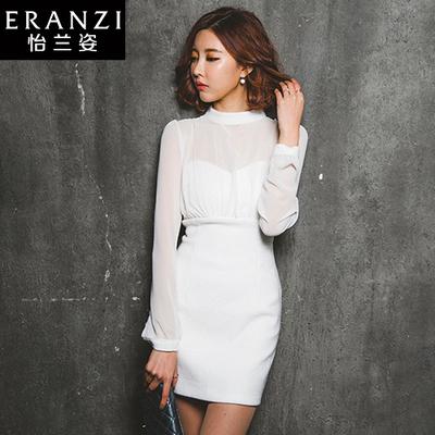 ERANZI2017秋装新款雪纺拼接连衣裙女长袖白色立领修身韩国包臀裙