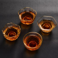 Japanese style hammer glass 茗 cup gold crystal transparent heat-resistant cup Kung Fu tea set personal small cup hex