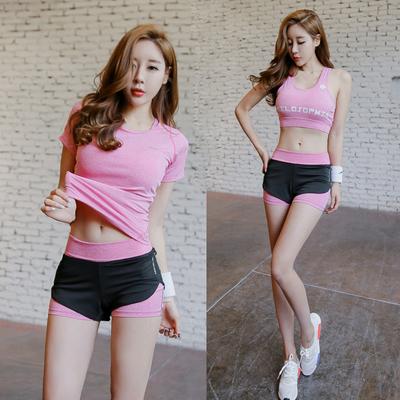 韩国2017夏季瑜伽服健身房长短裤跑步服速干衣短袖运动套装女