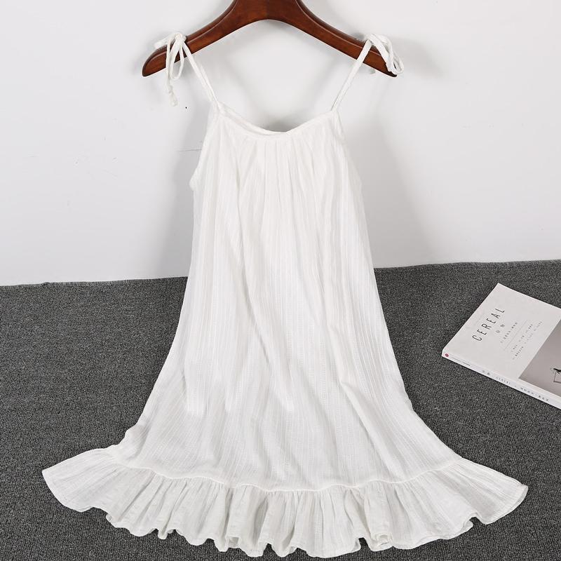 吊带睡裙白色棉