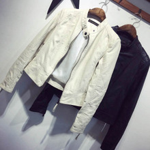 Spring and Autumn 2009 New Korean Edition Slim Pure Collar Short Pu Leather Coat Jacket Female Trend