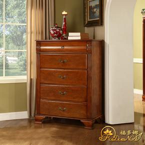 美式实木五斗柜欧式卧室五斗柜客厅抽屉柜储物斗柜宜家简约家具