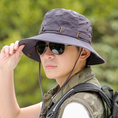 防晒帽子户外男士春夏天可折叠遮阳帽渔夫帽大檐钓鱼登山太阳帽
