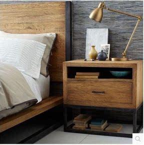 新款loft美式铁艺复古家具实木卧室床头柜边几电话桌宜家简约现代