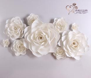大型婚庆纸花橱窗装饰影楼背景婚庆用品大型立体仿真纸花成品纸花