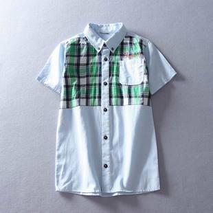 2016夏季韩版男童短袖衬衫儿童衬衣中大童休闲翻领上衣气质亲子装