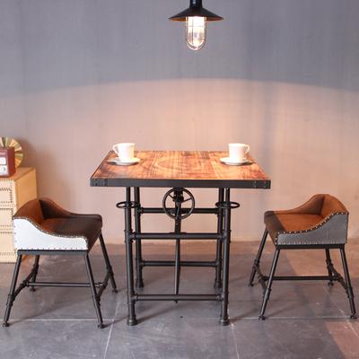 复古餐桌椅铁艺升降桌咖啡厅桌椅创意酒吧桌椅休闲桌办公桌实木销量排行