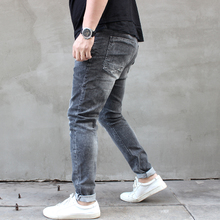 Spring New Fashion Fat Boy Grey Water Wash Super Large Gain Fat and Stretch Small Foot Men's Jeans