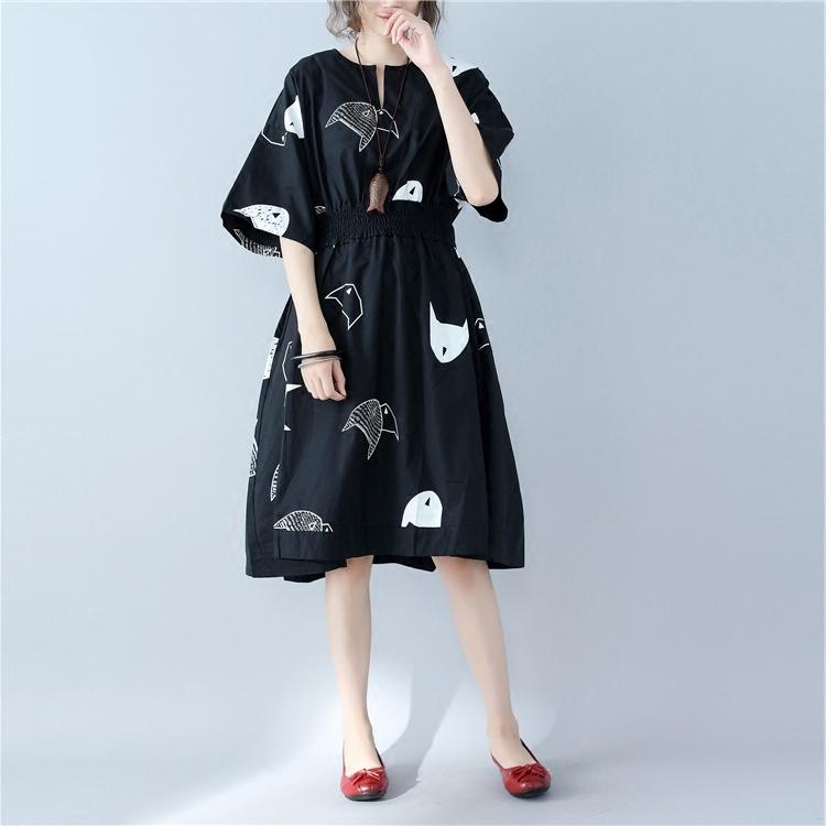 宽松大码女装名媛风松紧腰小鱼印花短袖连衣裙微胖mm遮肉显瘦裙子