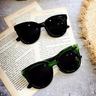 韩国新款墨镜林允儿绿茶同款潮牌墨绿复古圆框太阳眼镜女士眼镜