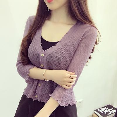 夏季木耳边针织衫女开衫中袖短款小披肩外套薄款防晒空调衫外搭潮