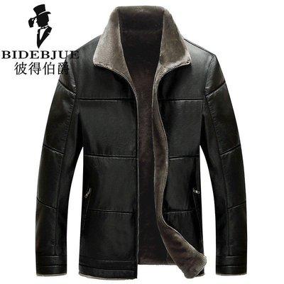 新款特大码男装棉衣加绒加厚皮夹克男士加肥加大商务冬装外套宽松