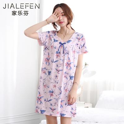 夏天睡裙女士睡衣夏季纯棉短袖中年妈妈中老年人大码宽松薄款中裙