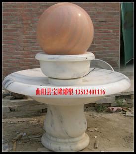 石雕喷泉汉白玉石雕风水球石雕壁泉流水喷泉晚霞红喷泉大理石喷泉