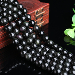 亮晶缘DIY黑曜石散珠手链项链饰品半成品直通隔珠配珠配饰直销