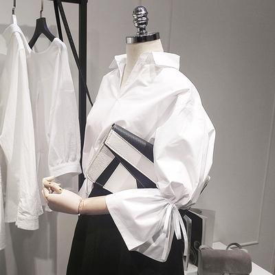 2019春装新款韩范宽松V领喇叭袖衬衫女系带九分袖白色衬衣上衣潮