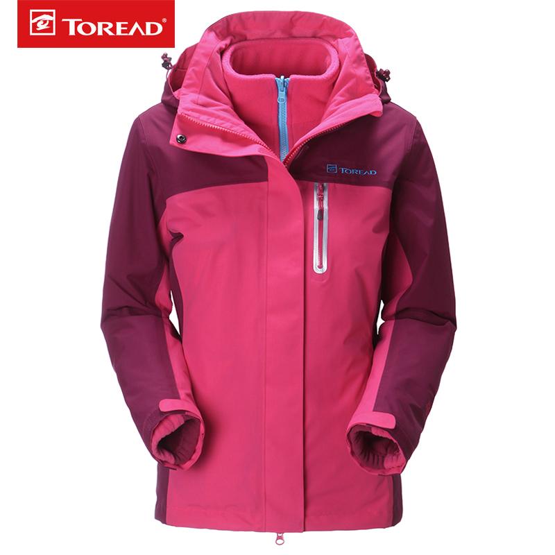 探路者冲锋衣男女三合一两件套TIEF面料科技保暖防风防泼水