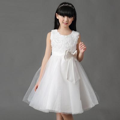 童装春装女童连衣裙儿童公主春秋款演出礼服蓬蓬白色婚纱裙子大童