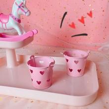 韩风chic少女心粉色心形小铁桶镂空马口铁迷你小桶收纳装饰
