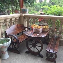 家居园艺碳化木全实木家具休闲桌椅凳椭圆车轮火烧炭烧木桌椅