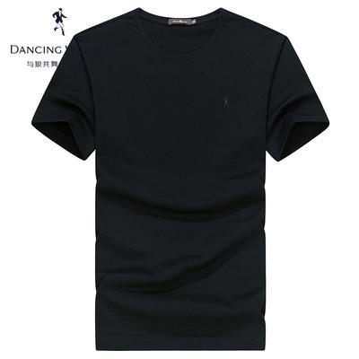 与狼共舞短袖T恤男夏季新品修身纯棉上衣男士白色纯色圆领打底衫