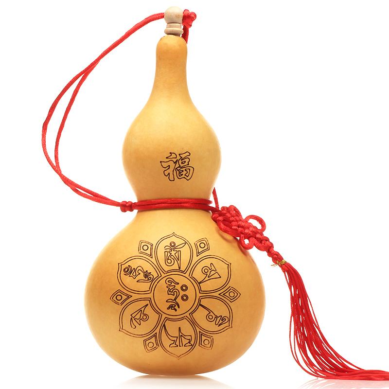 风水中式雕刻天然葫芦挂件龙头大小八卦六字真言木葫芦摆件工艺品