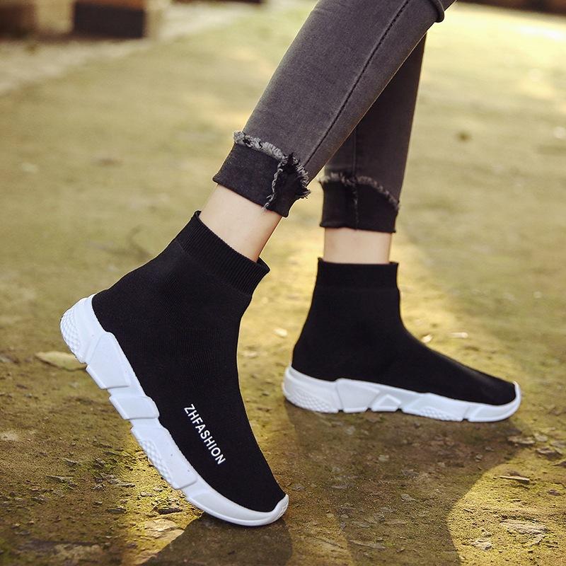 弹力袜子鞋韩版厚底运动休闲女鞋春季2019新款黑色百搭平底板鞋潮图片