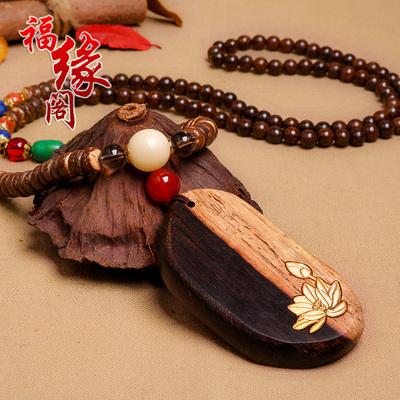 福缘阁檀木金花吊坠木牌挂坠毛衣链圆珠链复古民族风配饰礼物