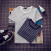 衣服男装 潮流t体恤 圆领半袖 黑白条纹修身 T恤学生韩版 短袖 夏季男士