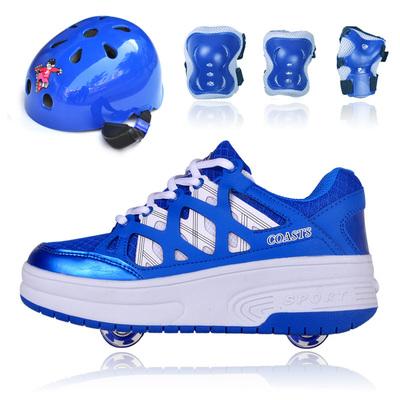 暴走鞋儿童自动女轱辘单轮双轮爆走鞋男童隐形按钮安全护具套装