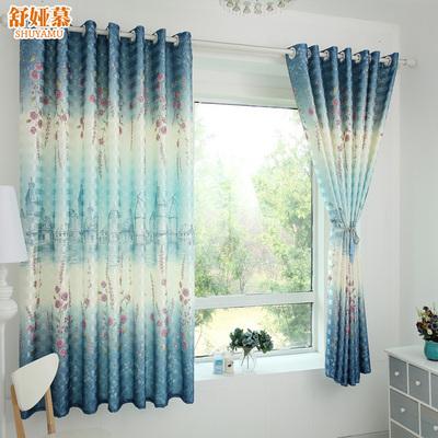 窗帘成品简约现代田园美式飘窗短帘半帘遮光布遮阳客厅卧室窗帘布
