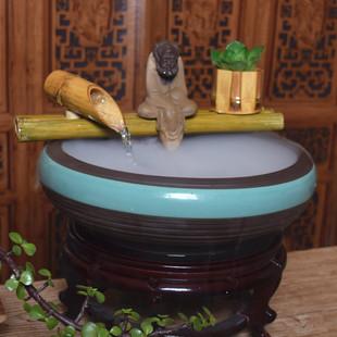 流水器竹子定做石槽摆件陶瓷喷泉家居客厅装饰品中式桌面鱼缸盆景