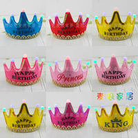 Prince Princess Birthday Hat Crown Adult Child Baby Character Dress Up Birthday Party Hat Light Headgear Headband