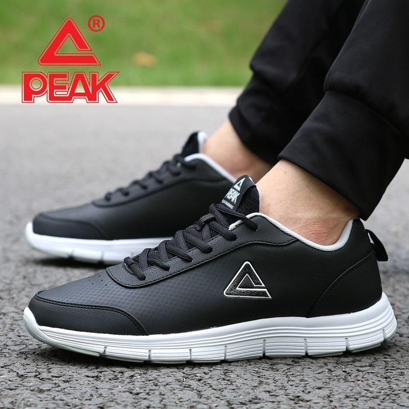 peak匹克跑步鞋男鞋2018春季男士休闲鞋轻便透气减震皮面运动鞋