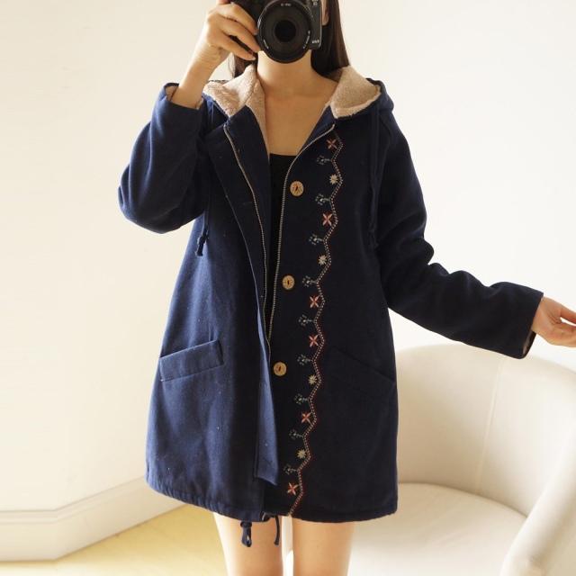 学生棉衣外套 新款 加绒加厚风衣中长款 日系少女系韩版 2017冬装